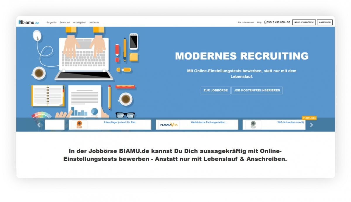 Die faire Online-Jobbörse mit E-Assessment-Center