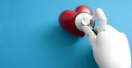 Eine KI Hand horcht ein Herz mit einem Stethoskop ab.