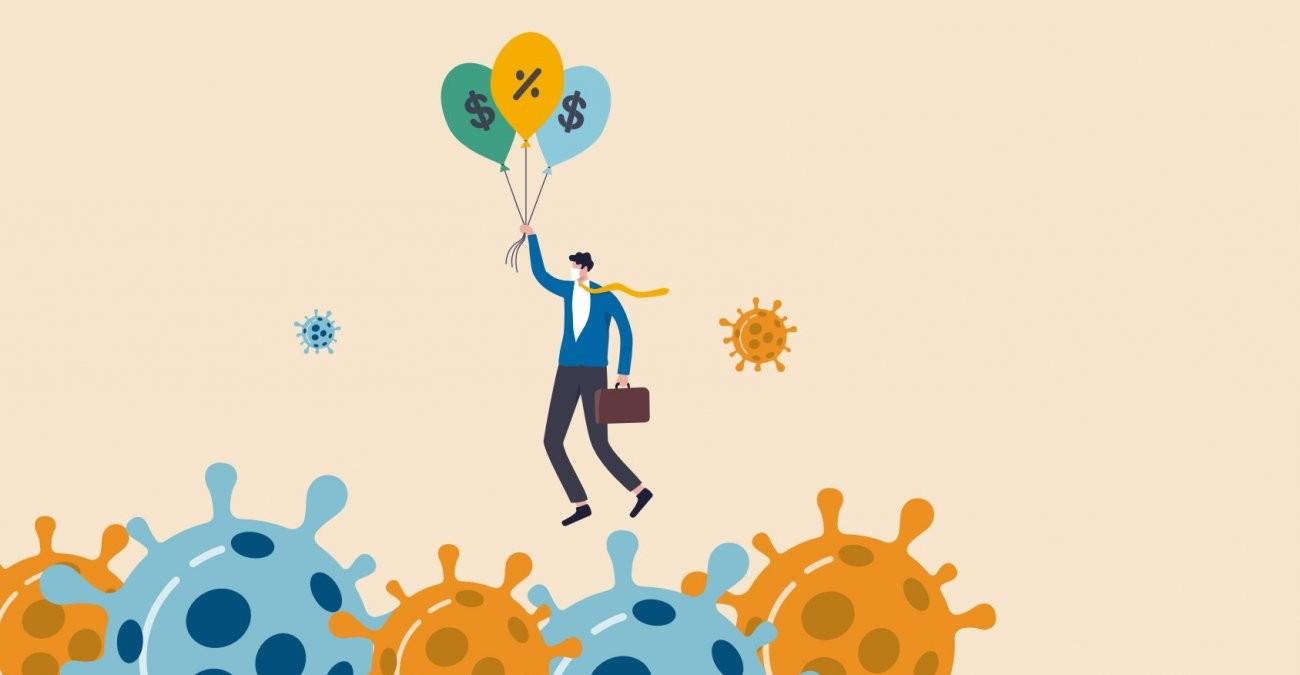Ein Mann im Anzug wird von Ballons mit Geld-Symbolen in den Himmel gezogen und so vor den Corona-Viren am Boden gerettet.